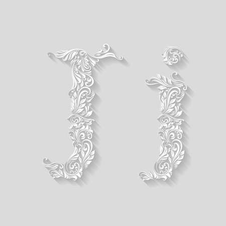 letter case: Handsomely decorated letter J in upper and lower case on gray