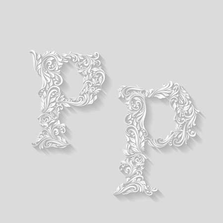 lower case: Handsomely decorated letter P in upper and lower case on gray