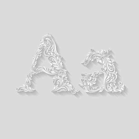 lower case: Handsomely decorated letter A in upper and lower case on gray