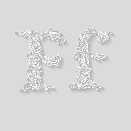 letter f: Handsomely decorated letter F in upper and lower case on gray