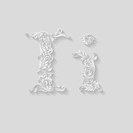 Bogato zdobione listu w dużych i małych liter na szarym