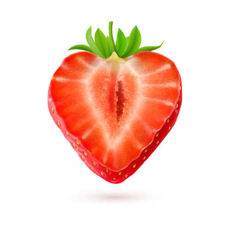 rich in vitamins: Strawberry. Half of a berry isolated on white background