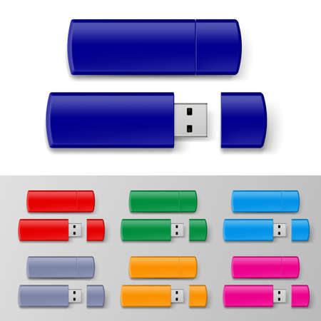 caps: Set of USB flash drive isolated on white