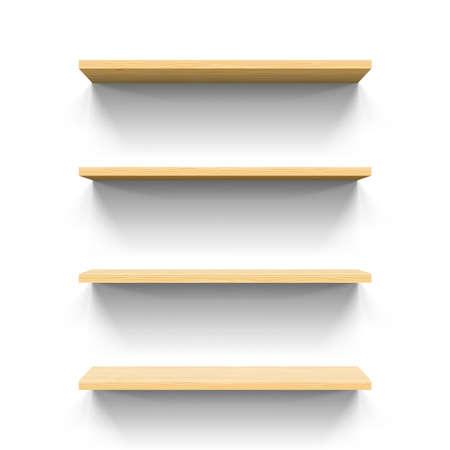 wooden shelves: Four horizontal wooden shelves. Realistic illustration for design