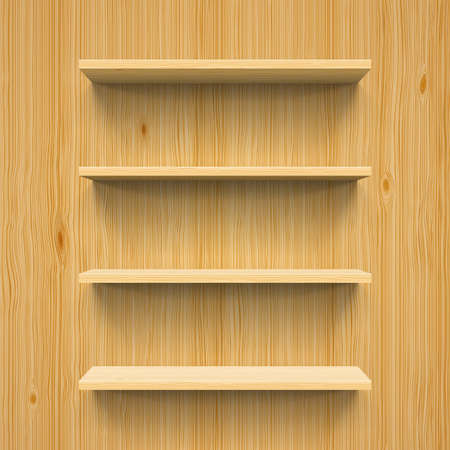 shelves: Horizontal wood bookshelves on the wall for design Illustration