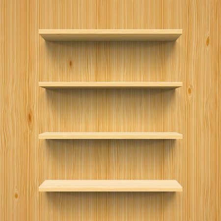 Horizontal wood bookshelves on the wall for design Illustration