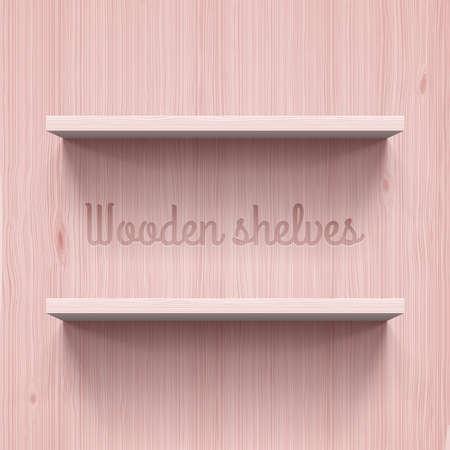 wooden shelves: Two horizontal wooden shelves. Illustration for design Illustration