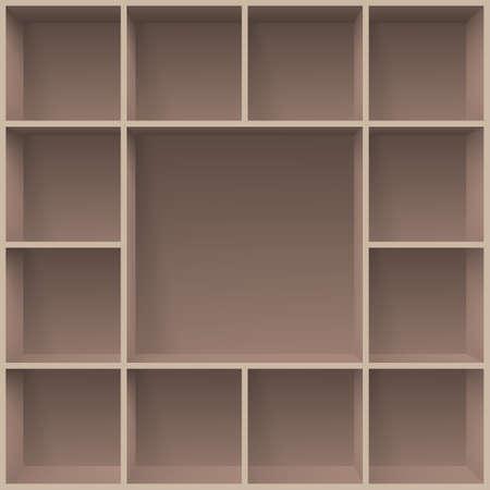 three shelves: Bookshelves. Illustration for creative design programms template