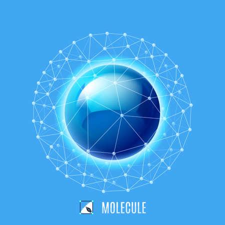 biotecnologia: Estructura molecular. Ilustración abstracta sobre fondo azul