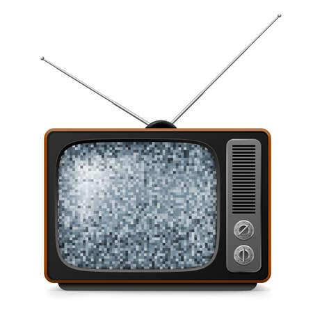 Broken retro TV with noise on screen. Illustration on white