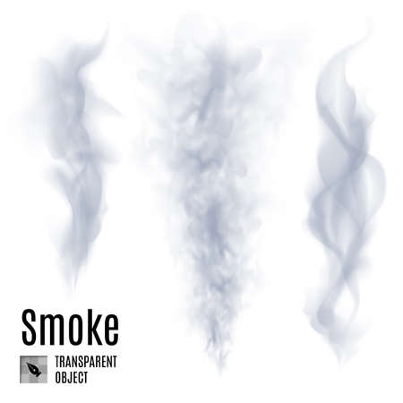 Set of transparent smoke on white background for design