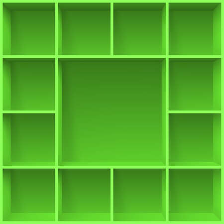 compartments: Green bookshelves. Illustration for creative design template