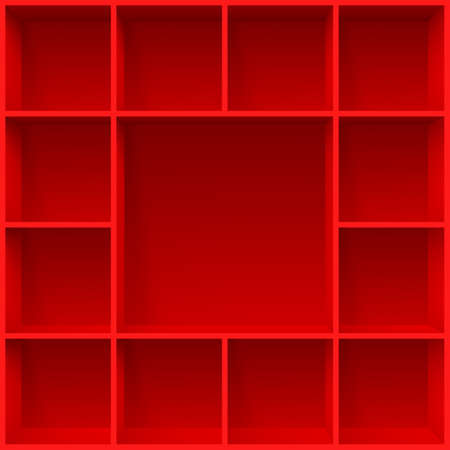 compartments: Red bookshelves. Illustration for creative design template Illustration
