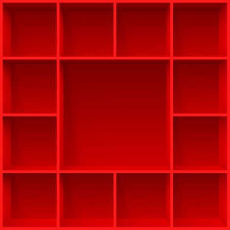Red bookshelves. Illustration for creative design template Illustration