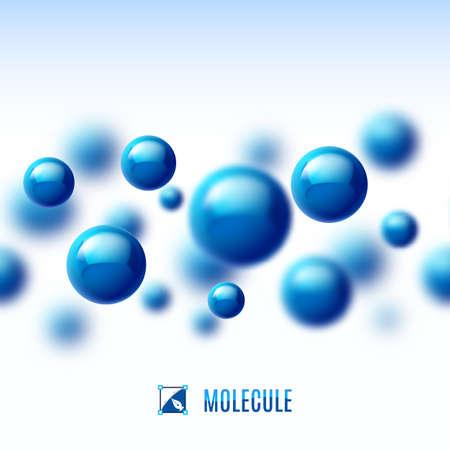 Blauw molecuulstructuur. Abstracte achtergrond met blur effect