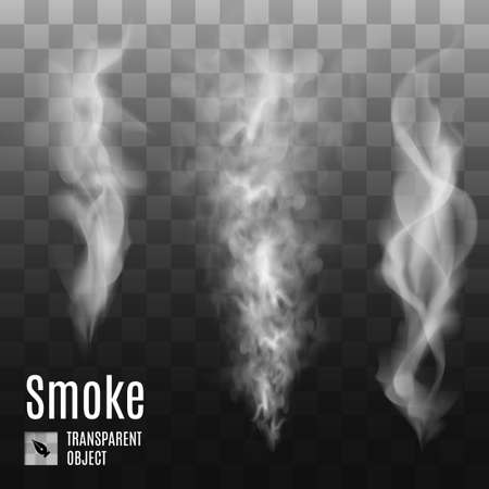 Set van transparante rook op een donkere achtergrond