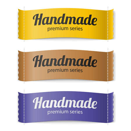 set series: Set of Labels Handmade series hand made yellow brown and purple Illustration