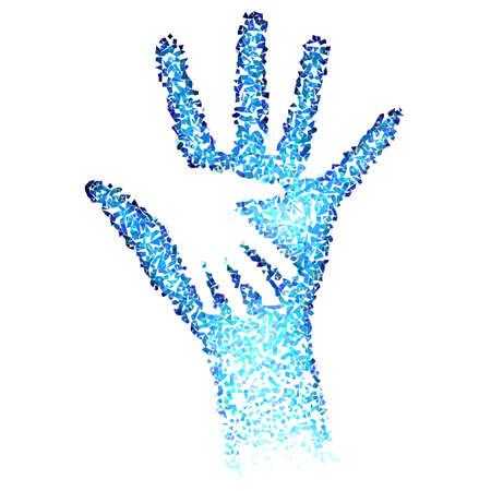 aide à la personne: Donner Un Coup De Mains. Résumé illustration en bleu