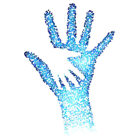 male hand: Helping Hands. Abstract illustration in blue color