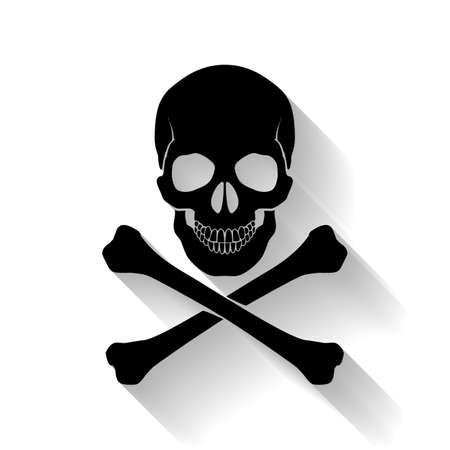 Black skull and cross-bones on white background as symbol of danger