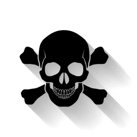 mortal danger: Black skull and cross-bones on white background. Symbol of danger