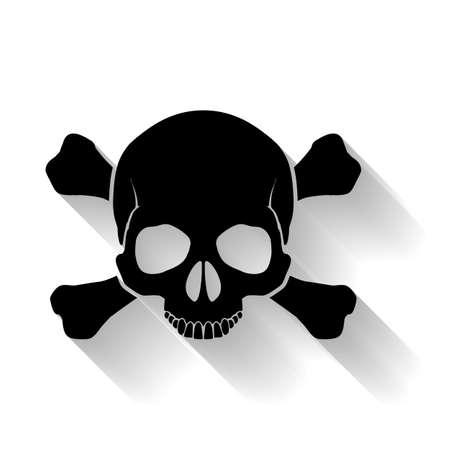 Zwarte schedel en cross-botten op gele achtergrond als teken van gevaar Stock Illustratie