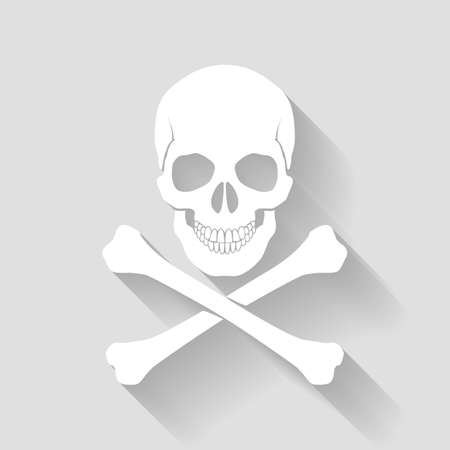 lethal: White skull and cross-bones on gray background as sign of danger Illustration