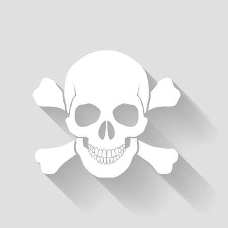 skull and cross bones: White skull and cross-bones on gray background Illustration