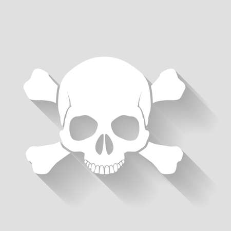 skull and crossbones: White skull and cross-bones with shadows on gray Illustration