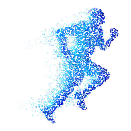 race start: Running man with blue pieces isolated on white