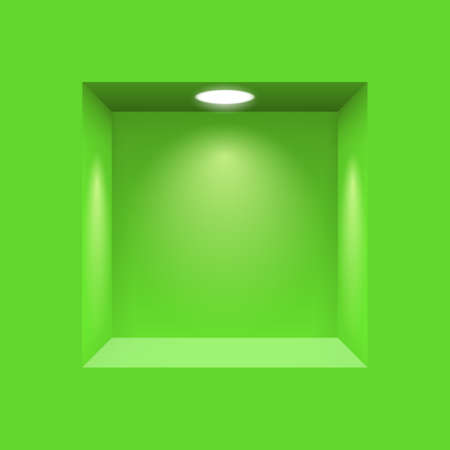 niche: Green niche for presentations illuminated  light lamp Illustration