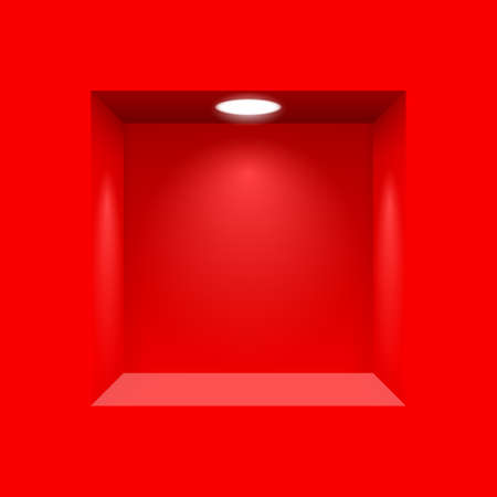 Red niche for presentations with illuminated  light lamp