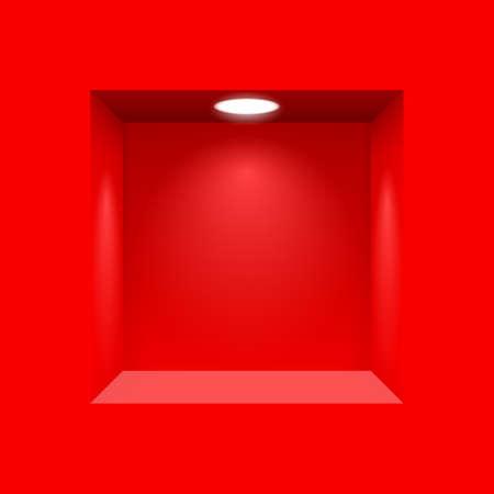 Nicho de rojo para las presentaciones con la lámpara de luz iluminada