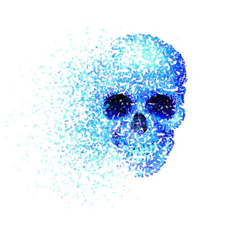 mandible: Skull with blue pieces isolated on white Illustration