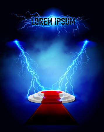 3d lightning: Podium with red carpet and lightning strikes