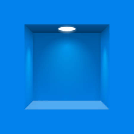 niche: Blue niche for presentations illuminated  light lamp
