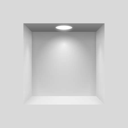 niche: Gray niche for presentations with illuminated  light lamp Illustration