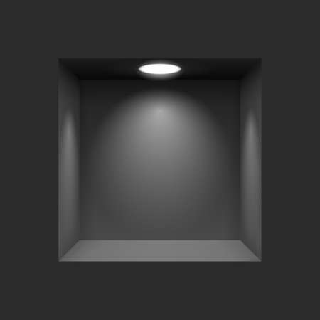 niche: Black niche for presentations with illuminated  light lamp