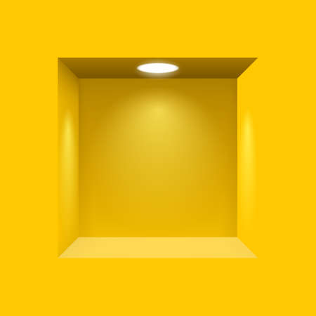 Yellow niche for presentations with illuminated  light lamp Çizim