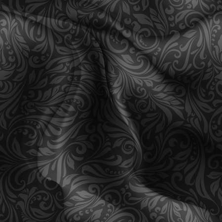 florid: Seamless patterned black fabric with a floral pattern in the form of vines