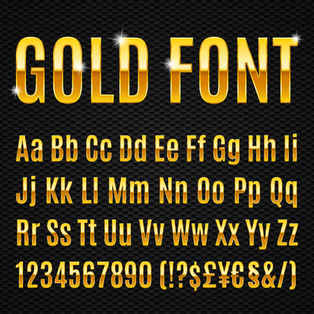 Golden alphabet letters numbers and signs currancy Ilustracja
