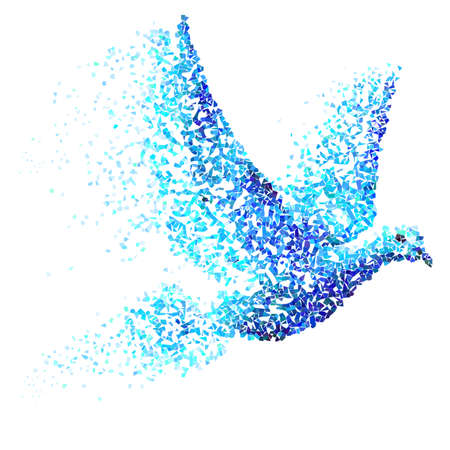 Pigeon built of blue and cyan particles