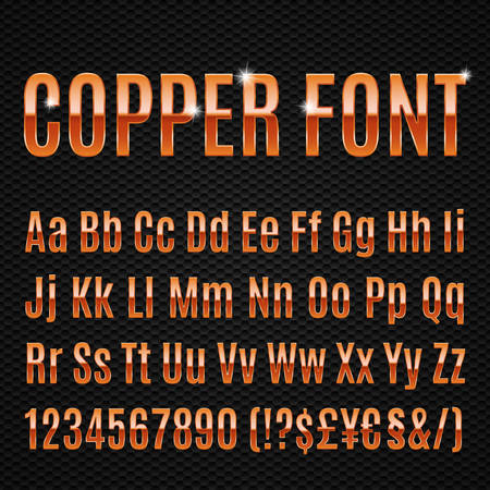 copper: Copper alphabet letters numbers and signs currancy