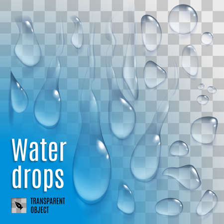 variety: Isolated set of transperent variety water drops