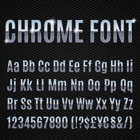 typeset: Chrome alphabet letters numbers and signs currancy
