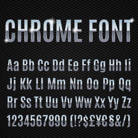 chrome letters: Chrome n�meros de letras del alfabeto y los signos currancy