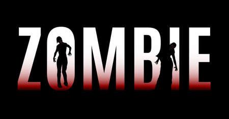Groot woord zombie geïsoleerd op een zwarte achtergrond