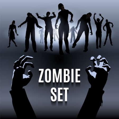 Set van zombie mannelijke en vrouwelijke zwarte silhouet lopen