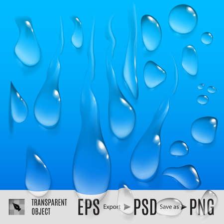 Geïsoleerde set van transperent verscheidenheid druppels water op blauw
