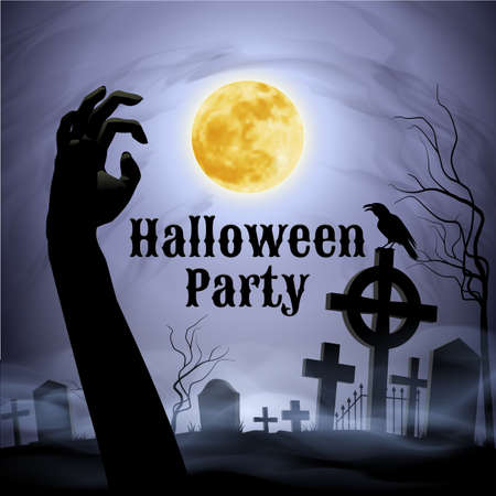 spooky graveyard: Spooky graveyard on the Halloween Night with evil raven on a celtic cross under full Moon with zombie hand